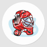 Red Goalie Mask Round Stickers
