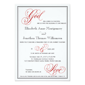 Red God is Love Christian Wedding Invitation