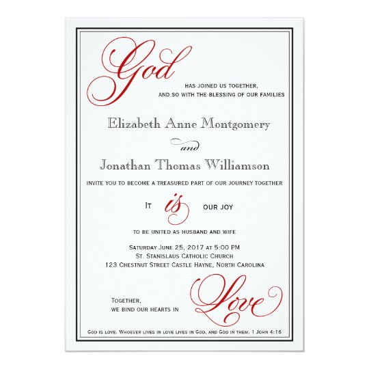 Christian Wording For Wedding Invitations: Red God Is Love Christian Wedding Invitations