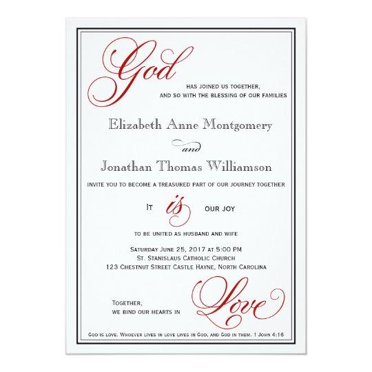 Christian Wedding Reception Ideas: Red God Is Love Christian Wedding Invitations