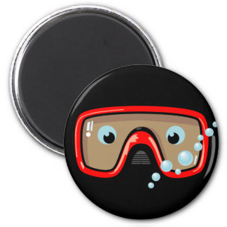 Red Goggles 2 Inch Round Magnet