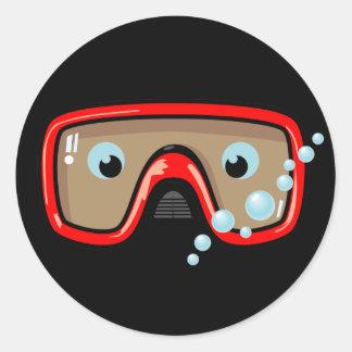Red Goggles Classic Round Sticker