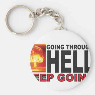 red going through hell keep going keychain