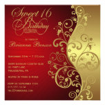Red &  Gold 16th Birthday Party Invitation