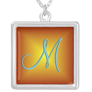 Red Gold 3d Monogram Silver Plated Necklace