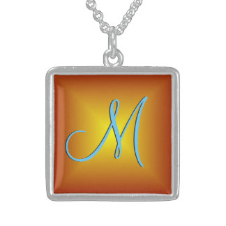 Red Gold 3d Monogram Sterling Silver Necklace