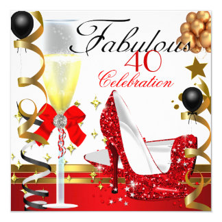 Red  Gold 40 & Fabulous 40th Birthday Party 5.25x5.25 Square Paper Invitation Card