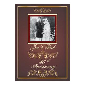 Red + Gold 50th Anniversary, Gold Swirls Photo Invitation