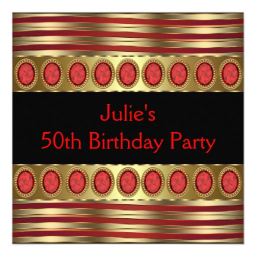 """Red Gold 50th Birthday Party Invitation 525"""" Square. Corner Dining Room Sets. Plantation Shutter Room Divider. Tuscany Kitchen Decor. Decorative Coat Hook. Kitchen Decor Yellow. Cheap Rooms In Detroit. Dining Room Rug. Snowmen Decorations"""