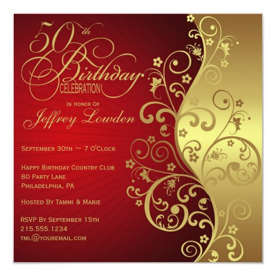 Red Gold 50th Birthday Party Invitation
