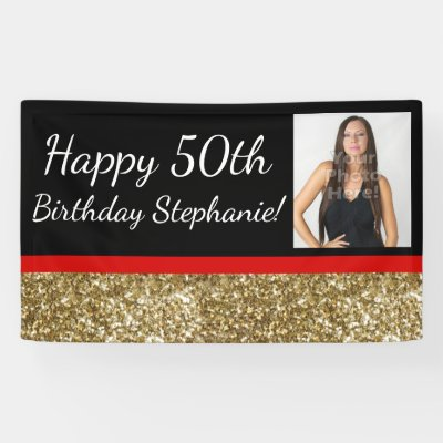 Photo 50th birthday party banner blackgold zazzle publicscrutiny Image collections