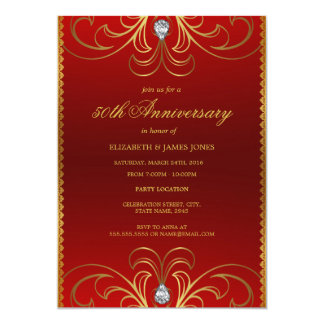 Red U0026amp; Gold 50th Wedding Anniversary Invitation
