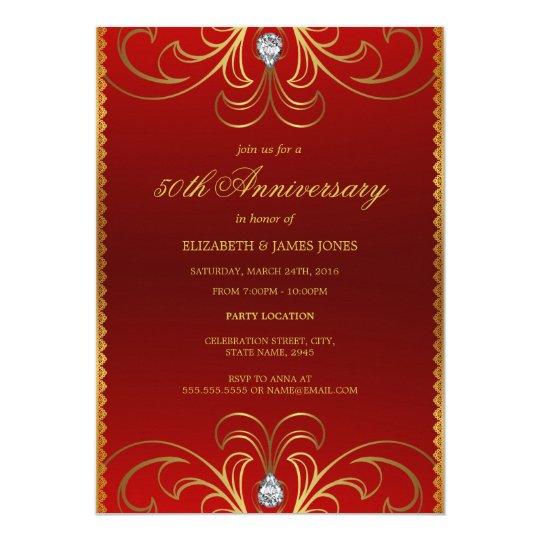 Red gold th wedding anniversary invitation zazzle