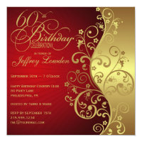 60th birthday invitations zazzle red gold 60th birthday party invitation filmwisefo Choice Image