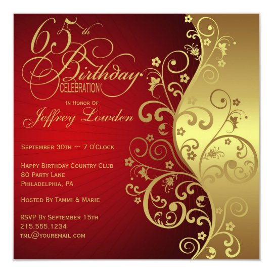 Red Gold 65th Birthday Party Invitation
