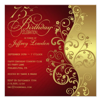 Red Gold 75th Birthday Party Invitation