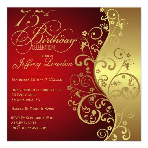 Red & Gold 75th Birthday Party Invitation