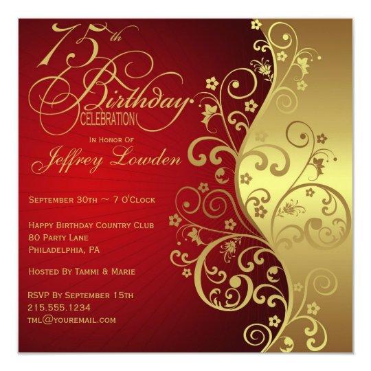 red gold 75th birthday party invitation zazzle com