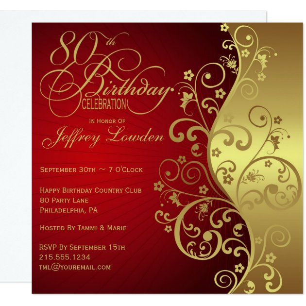 Red & Gold 80th Birthday Party Invitation | Zazzle Birthday