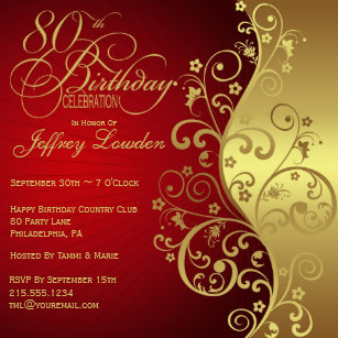 80th birthday invitations zazzle