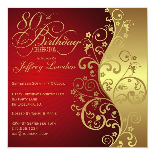 red & gold 80th birthday party invitation | zazzle, Birthday invitations