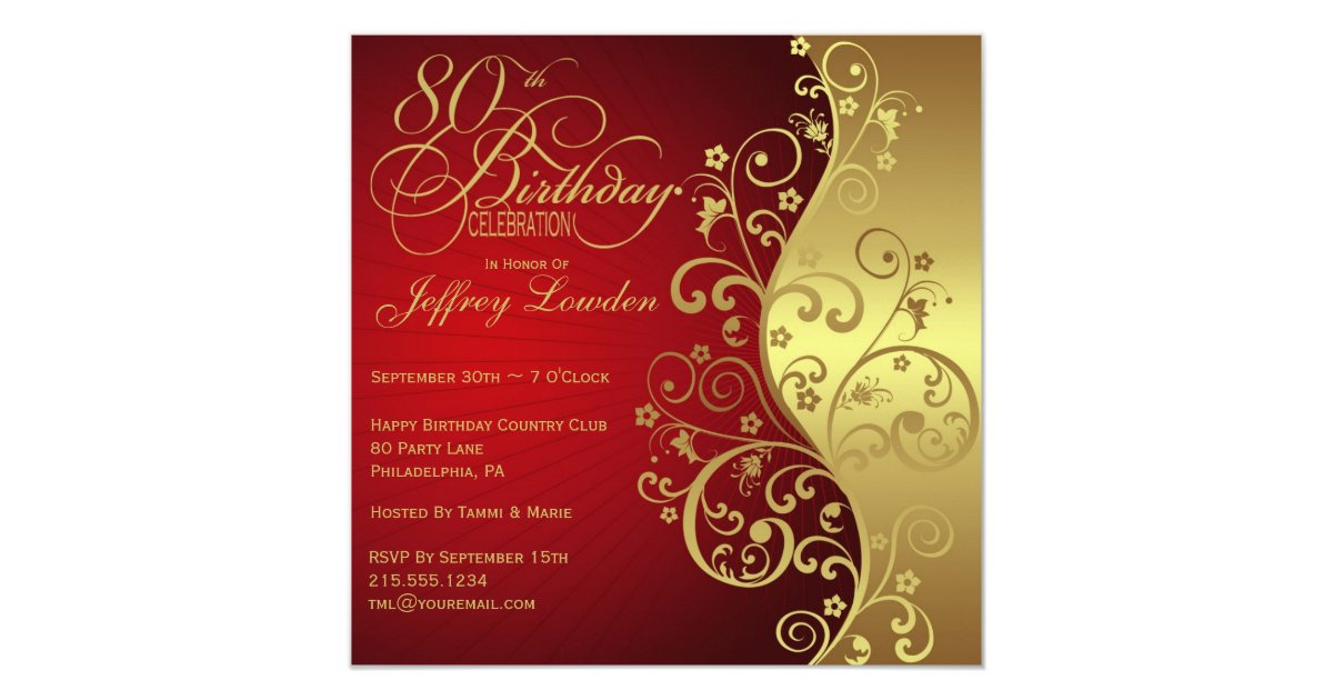 Red amp Gold 80th Birthday Party Invitation Zazzle