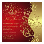 "Red & Gold 90th Birthday Party Invitation 5.25"" Square Invitation Card"
