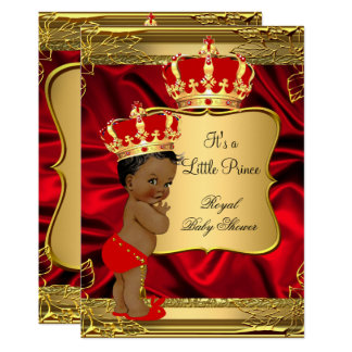 Red Gold African American Prince Baby Shower Invitation
