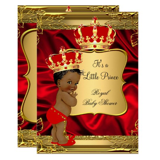 Perfect Red Gold African American Prince Baby Shower Invitation