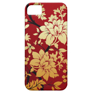 Red Gold and Black Floral Oriental Style iPhone 5 Case