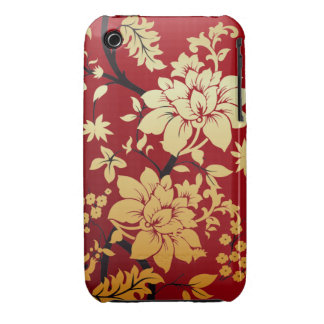 Red Gold and Black Floral Oriental Style iPhone 3 Cover