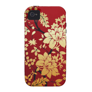 Red Gold and Black Floral Oriental Style iPhone 4/4S Cover