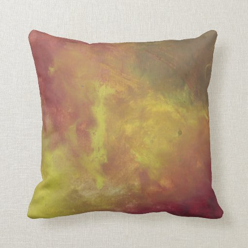 Red Gold and Green Abstract Oil Painting Throw Pillows