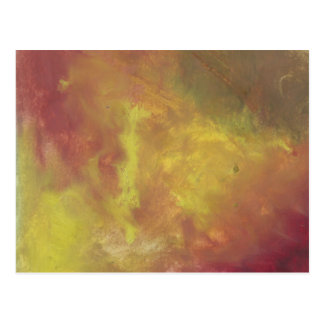 Red Gold and Green Abstract Oil Painting Postcard