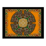 Red, Gold and Green Celtic Knotwork Post Card