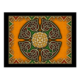 Red Gold and Green Celtic Knotwork Post Card