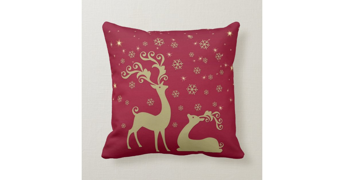 Red, gold and green Christmas reindeer Throw Pillow Zazzle