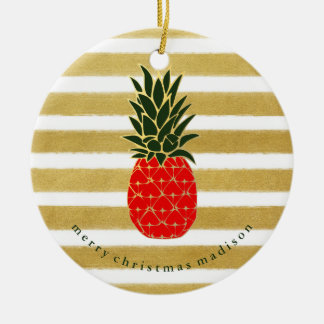 Red Gold and Green Christmas Tropical Pineapple Ceramic Ornament