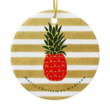 Christmas Themed Red Gold and Green Christmas Tropical Pineapple Ceramic Ornament