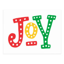 Red Gold and Green Joy Postcard