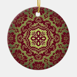 Red Gold and Green Ornate Design Ceramic Ornament