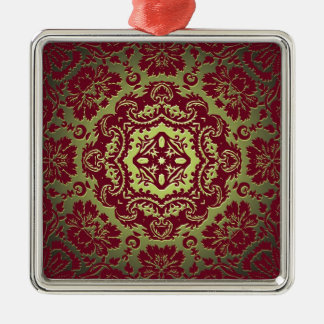 Red Gold and Green Ornate Design Metal Ornament