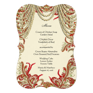 Red Gold and Lime Vintage Paisley Damask Wedding Custom Announcement
