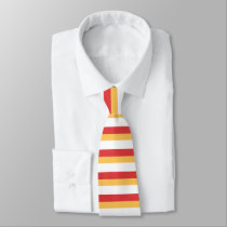 Red Gold and White Horizontally-Striped Tie