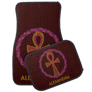 Red Gold Ankh Ancient Egypt Wicca New Age Custom Floor Mat