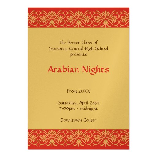Red gold arabian junior senior prom formal dance personalized announcements