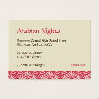 Red gold arabian prom bid custom admission ticket
