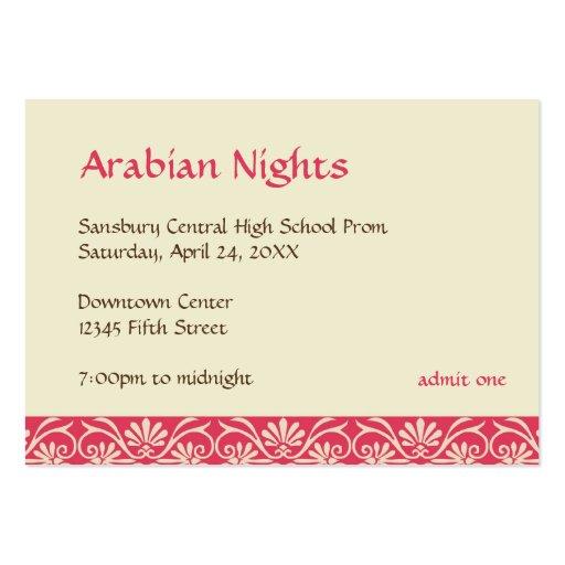 Red gold arabian prom bid custom admission ticket business cards