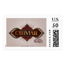 Red & Gold Art Deco Obliviate Spell Graphic Postage