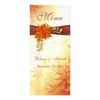 Red gold Autumn leaves Wedding Menu  Rack Card